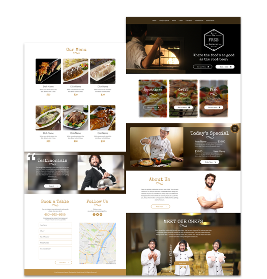 Restaurant website template cakewp
