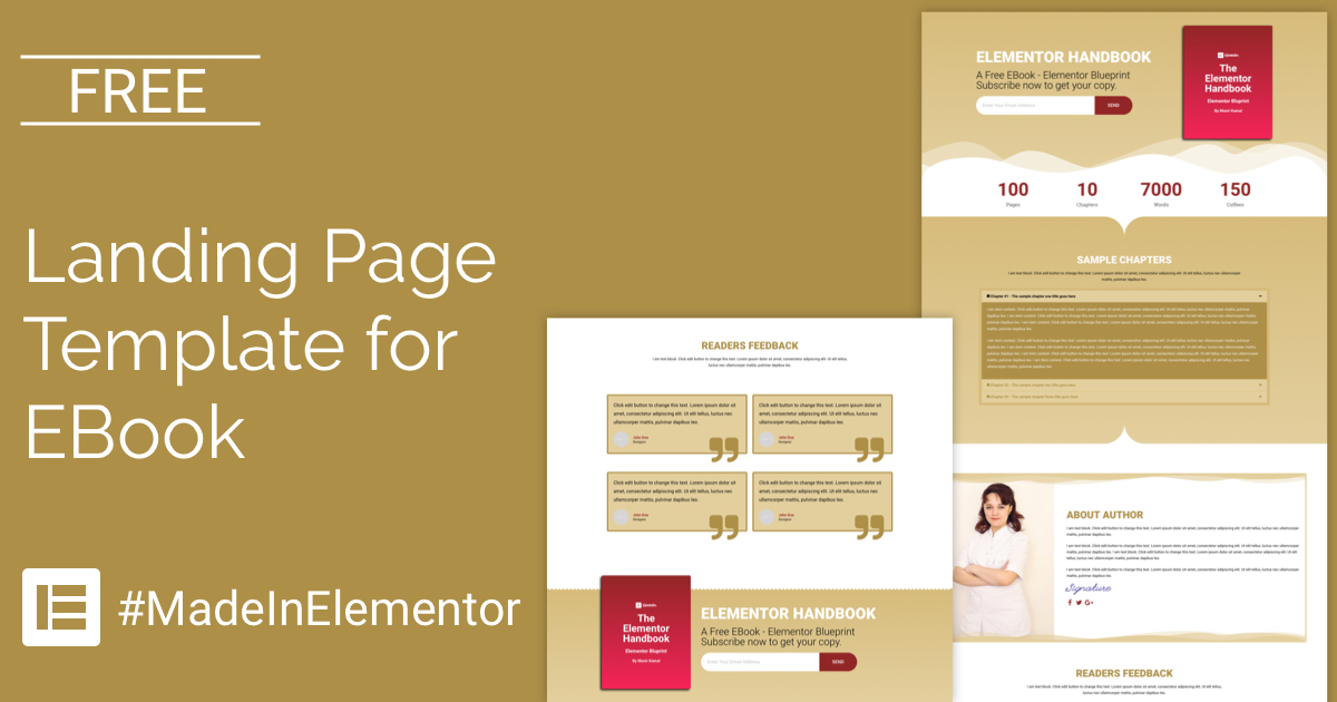 free landing page elementor template for ebook cakewp. Black Bedroom Furniture Sets. Home Design Ideas