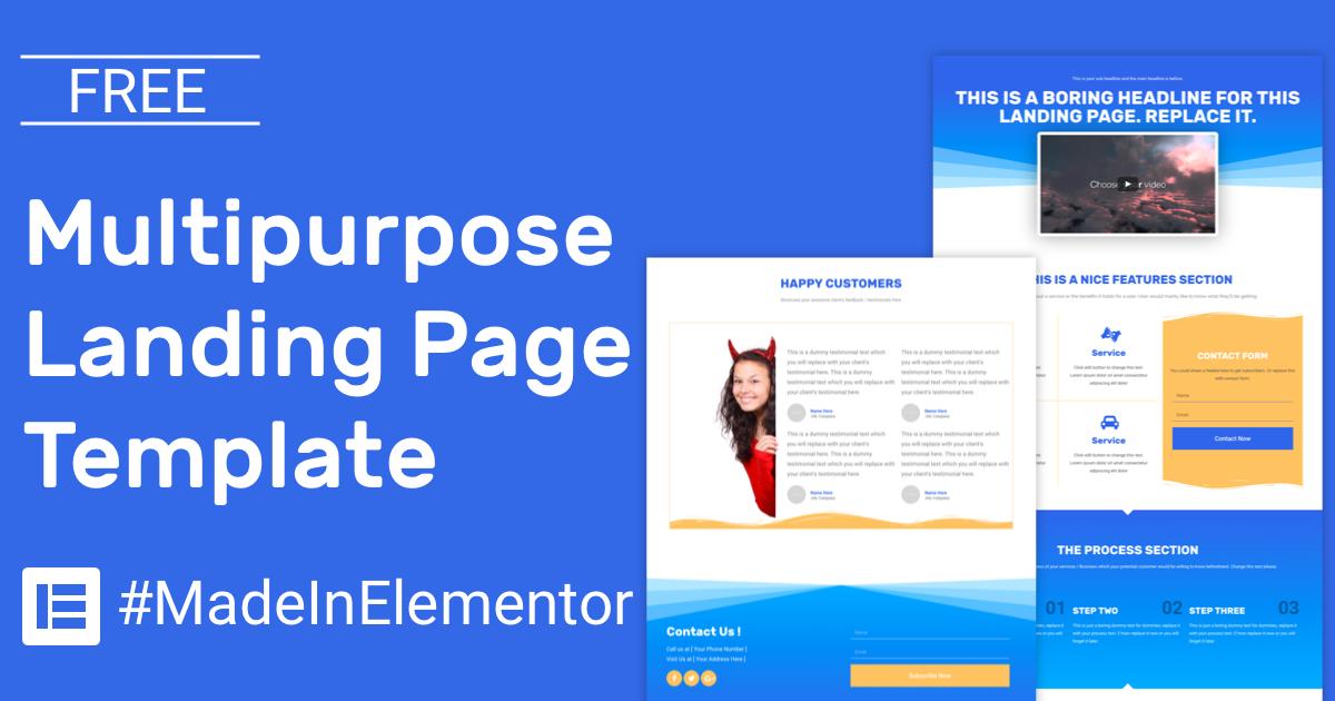 free simple multipurpose landing page elementor template cakewp