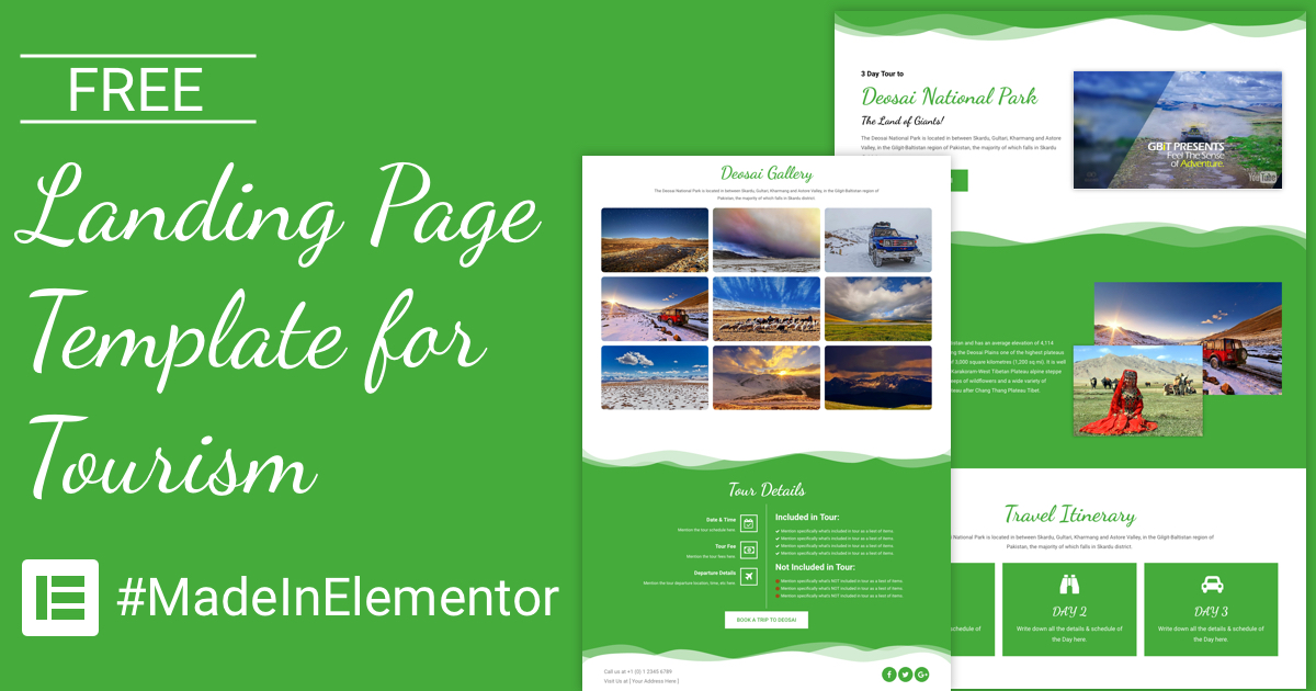 Free Landing Page Elementor Template for Tourism | CakeWP