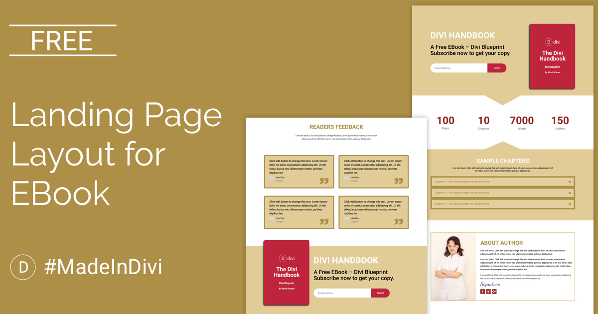 free landing page divi layout for ebook cakewp. Black Bedroom Furniture Sets. Home Design Ideas