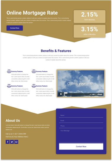 Free Landing Page Elementor Template for Mortgage